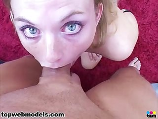 Blue eyes babe pov blowjob