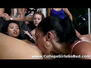 Interracial lesbian orgy for sorority girls