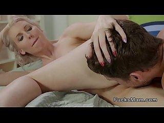 Slim blonde mom bangs young big cock