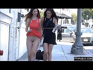 Girls flashing pussy on a busy street