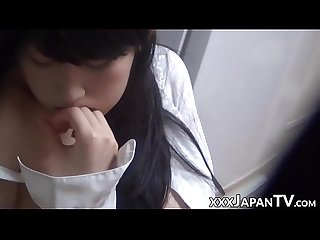 Young japanese tits fondled before solo masturbation
