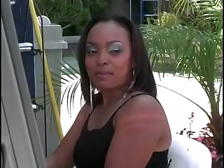 Sexy ass black bitch gets cum after hot black cocky ride on couch