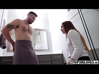 Stepbro caught a stepsister masturbating in the bathroom