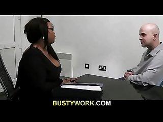 Ebony plumper pleases boss for job