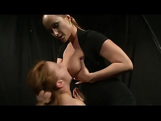 Busty lez domina playing with her slave