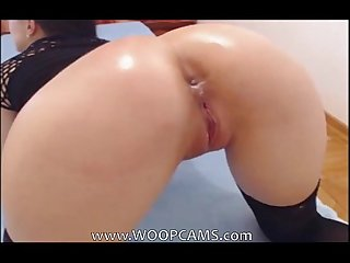 Showing and dildoing her Perfect Ass with red Dildo woopcams period com