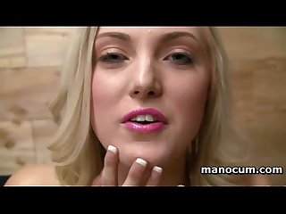 Seducing blonde stripping and rubbing penis with lust in pov