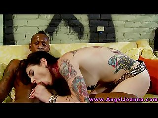 Goth emo tattood slut enjoys black dick