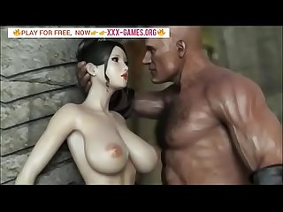 Big tits Korean Girl with big Black cock in Best 3d porn game