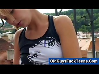 Old guys blowjob by hot younger babe