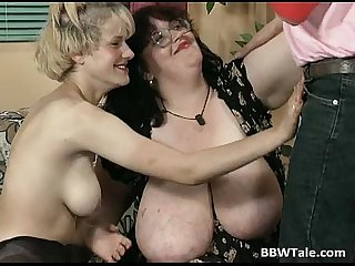 Threesome sex party with bbw slut
