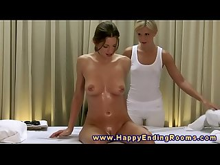 Lesbian massage oral for horny models during their session