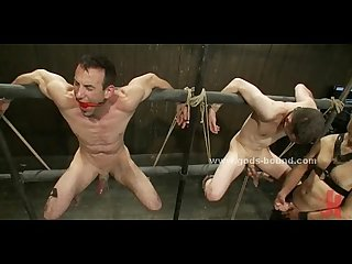 Gay slaves tied from eachother spanking and fucking in extreme bondage sex