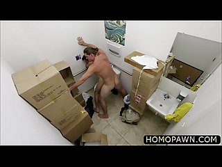 Guy hairy customer fucked straight in his virgin ass inside the Toilet room