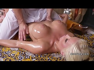 Big boobs blonde bangs her masseur