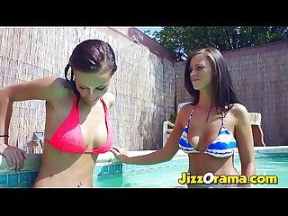 Two Hot Teen Lesbian Cousin Fucks in the Pool Outside