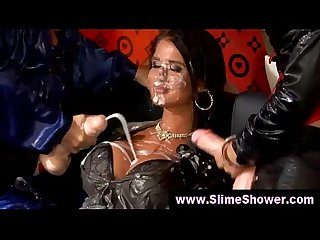 Two lesbians covered in slimey goo