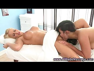 Sexy asian masseuse licks babe
