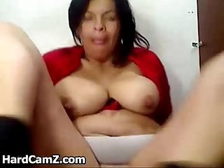 Lactating latin milf toys her ass and pussy