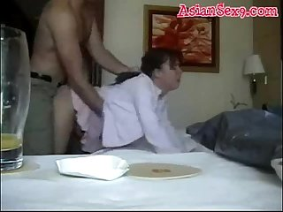 Super hot asian mom fucks passionately in a hotel room