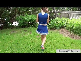 Busty cheerleader flashing boobs outdoor