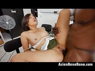 Asian Milcah Halili Taking On Black Dick In Sewing Shop