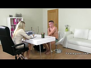 Blonde female agent recording sex casting