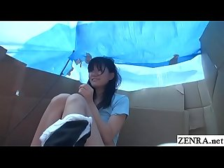 Homeless jav star sex for food in cardboard home subtitled