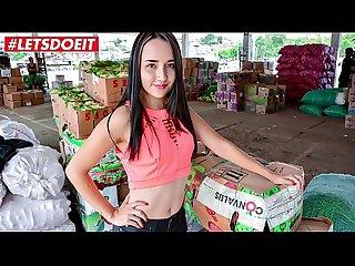 Letsdoeit hot latina teen picked up and fucked hardcore