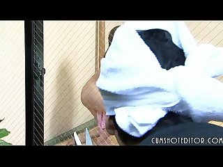 Submissive japanese maid taking a fat load on her innocent face