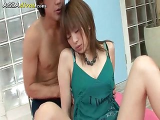 Lovely japanese babe gets creampied