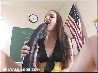 Schoolgirl hailey young pounds her pussy with huge dildo