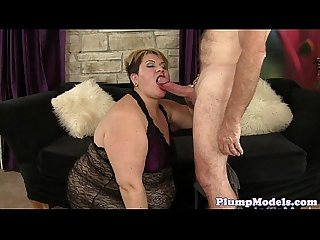 Ssbbw banged passionately on the sofa