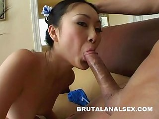 Petite asian Evelyn lin has her asshole stretched by a big cock