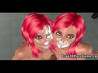 3d cartoon babe with pink hair getting fucked hard