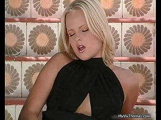 Gorgeous blonde babe getting