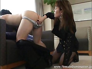 Horny lady boss teases her employee and as well as his cock