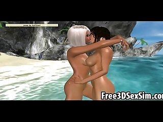 Two 3d cartoon honeys getting fucked on the beach