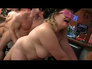 Mature fat ladies in a bar orgy getting pumped