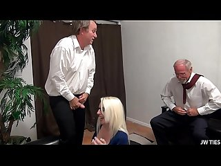 Broke Blonde Tagteamed By Old Guys