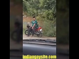 Indian gay video of a horny and wild Punjabi boy masturbating openly on road indian gay site