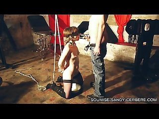 Soumise sandy gagging fucking for french bdsm slave in handcuff