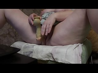 Fat milf with dildo masturbates hairy pussy in front of the webcam and shakes big tits period