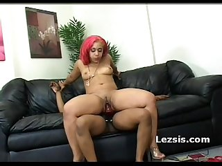 Thick lesbian Babe with small tits rides girlfriends strapon then takes it doggy