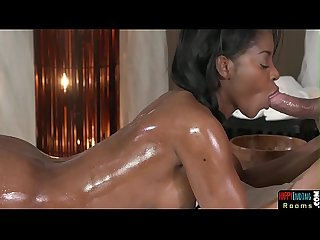 Ebony babe cocksucking lucky masseur