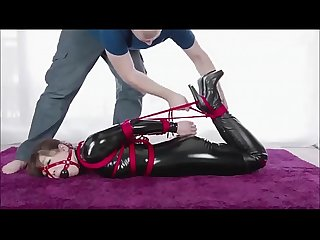 Cute Japanese Girl in Latex Gets Tied Up (Bondage) - AsianBondageTube.com