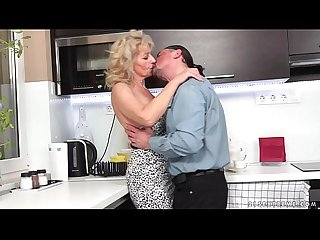 Hairy granny fucked in the kitchen