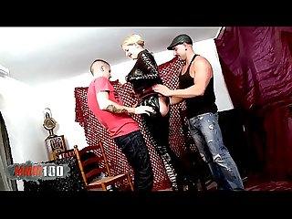 Big Leather lady for two horny guys in the aftertnoon.