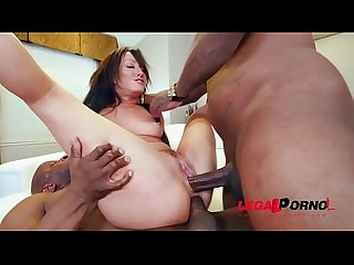 Sexy slut jennifer white takes two big black cocks