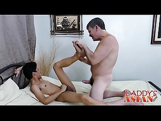 Horny gay daddy shares his fantasy with a cute Asian twink